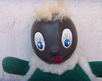 Vintage Charming MISS BLACK CHICK Plush & Plastic Toy, Rolled Head