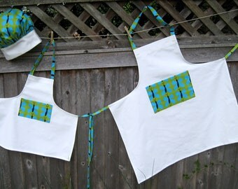 Matching Mother Daughter/Grandmother Aprons and Child Chef Hat