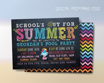 School's Out For Summer, Summer Birthday Pool Party, Summer Party, Pool Party, Printable Invitation