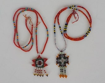 2 Vintage Seed Bead Necklaces - Native American Necklace