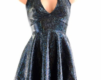 Black on Black Shattered Glass Halter Tie Back Skater Dress with Gold Dragon/Mermaid Scale Spikes 154200