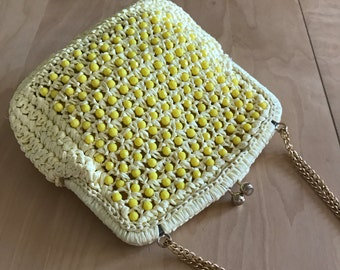 Yellow Clutch Beaded Woven Handbag by Magid Jute Spring/Summer Made in Italy