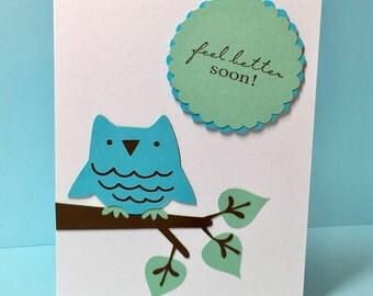 Owl Get Well Card, Get Well Soon, Cheer Note Card, Friendship Card, Feel Better, Sick, Feel Better Soon, Get Well Note Card, Note Card