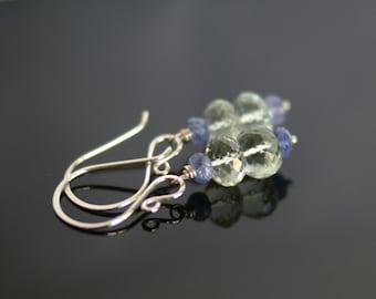 Amethyst earrings, tanzanite earrings, prasiolite earrings, green amethyst jewelry, tanzanite jewelry gift for her, silver ear wires
