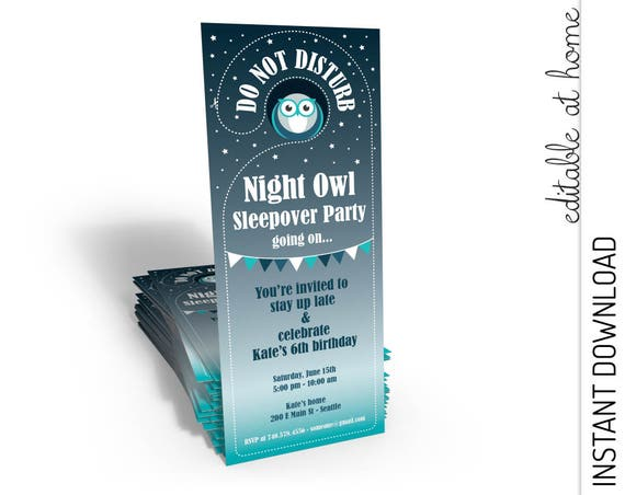 Sleepover Birthday Invitation INSTANT DOWNLOAD