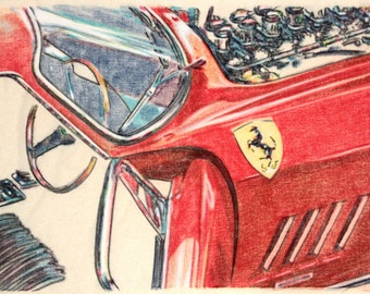 Original one-off drawing of a Ferrari 275GTB, in charcoal and pastel on calico