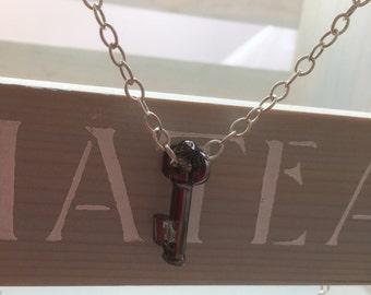Sterling Silver & Swarovski Crystal Key Necklace.