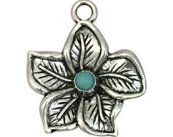 3 Silver Hibiscus Charm Flower Pendant 26x22mm by TIJC SP1555