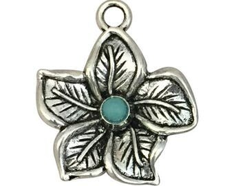 3 Silver Hibiscus Flower Charm 26x22mm by TIJC SP1555