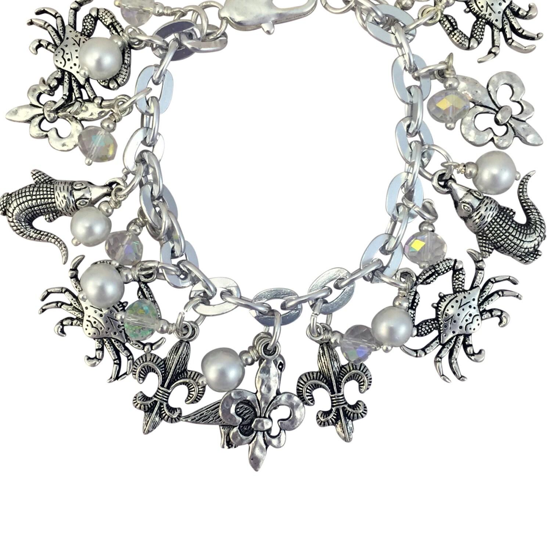 Fleur De Lis Charm Bracelet: Fleur De Lis Jewelry Silver Charm Bracelet 7.5 Inch With