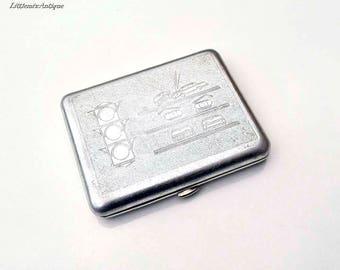 Vintage Soviet Era Silver Color Lightweight Metal Traffic Design Cigarette Case Retro Soviet Cigarette Holder. Made in USSR
