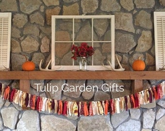 fall or halloween rag garland with optional chevron burlap button bows fall mantel decor - Halloween Mantle