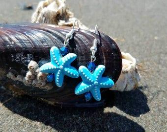 Blue glass starfish earrings