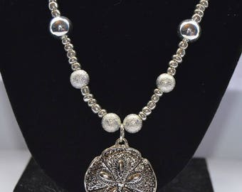 Silver Dollar Beaded Necklace