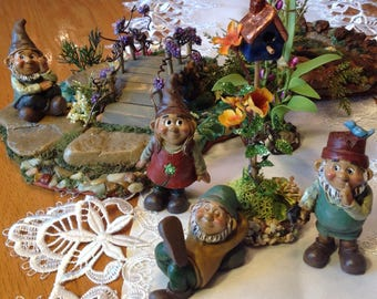 Little Garden Gnomes in need of a home! Miniature Gnomes, Fairy Garden Miniatures, Gnome Garden Miniatures
