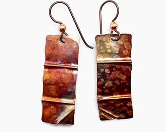 Textured Copper Earrings with Flame Patina, Forged Metal Jewelry, Rustic Earrings, Steampunk Accessories