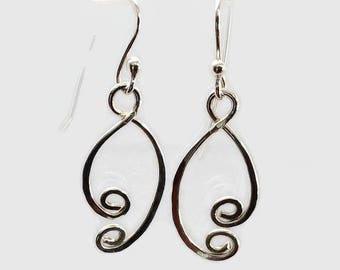 Funky Sterling Silver Earrings, Handcrafted Metalwork Jewelry, Gift for Her,