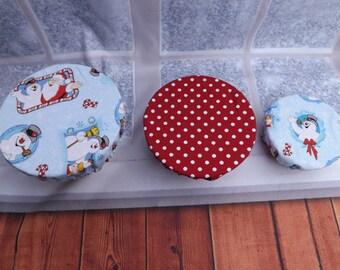 Christmas snowman set of three bowl covers