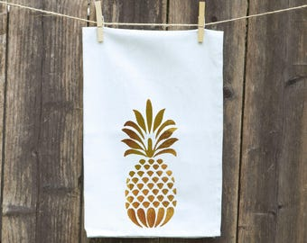 Pineapple Kitchen Towel, GOLD FOIL Pineapple Towel,Metallic Gold Foil Flour Sack, Pineapple Dishcloth, Tea Towel, Choose Foil Color