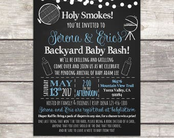 BBQ Babyque Baby shower invitation, coed backyard BBQ baby shower, digital printable invitation