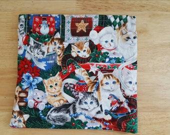 Christmas cats reusable sandwich bag, reusable snack bag, Christmas bag, cat bag, Christmas Sandwich bag, eco-friendly bag
