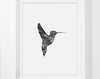 Bird Art, Marble Print, Hummingbird Art, Marble Decor, Black and White Bird Print, Simple Prints, Bird Wall Art, Birds, Animal Printable