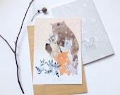 Let's hug post card Animal post card Woodland post card Bear post card Animal greeting card Animal card Raccoon post card Gift