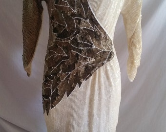 Vintage cream bronze and white sequin dress size 12