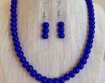 Blue Sapphire Necklace, Blue Beaded Jewelry, Gift for Mom, Blue Weddings, Cobalt Blue Bridal Jewelry, Bridesmaid Gift Idea, Wedding Necklace