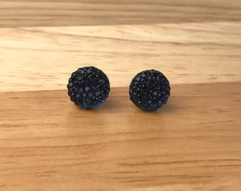 Navy Blue Stud Earrings, Navy Bridesmaid Earrings, Dark Blue Rhinestone Earrings, Gift for Her, Navy Blue Wedding Jewelry, Dark Navy Blue