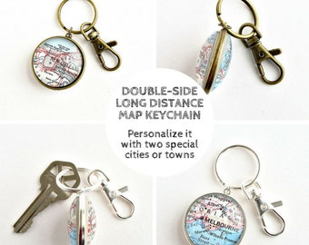 Personalized Long Distance Keychain, Boyfriend Moving Away Gift, Long Distance Relationship Gifts, Going Away Gift, LDR Gifts, Map Keychain