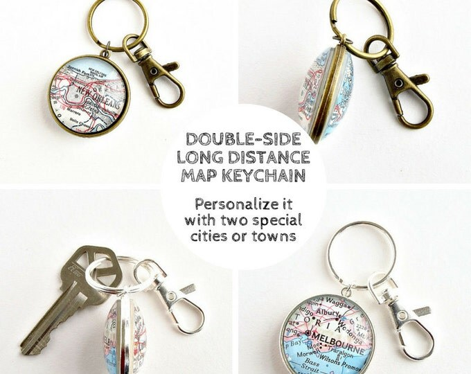 Featured listing image: Personalized Long Distance Keychain, Boyfriend Moving Away Gift, Long Distance Relationship Gifts, Going Away Gift, LDR Gifts, Map Keychain