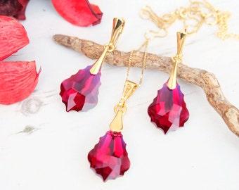 24k Gold Plated Swarovski Earrings Necklace Set-Wedding Bridesmaids Swarovski Baroque Crystal Jewellery-Dangle Drop Ruby Deep Red Earrings