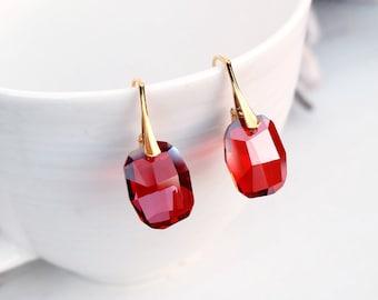 Red Gold Swarovski Earrings-Graphic Swarovski Crystal Jewellery-Red Magma Earrings-Modern Dangle Drop Earrings-24k Gold Plated