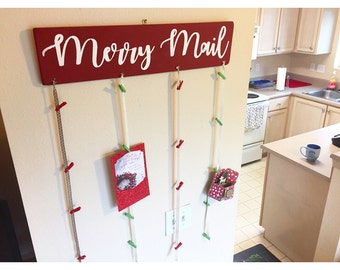 Merry Mail Christmas Card Display Sign
