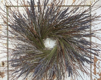 """Natural Brush Twig and Dried Lavender Wreath - 26"""""""
