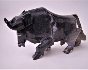 Vintage Black Bull Stone Figurine - Bull Financial Market Figurine
