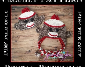 Crochet Sock Monkey Hat Pattern Only--PDF FILE--PATTERN