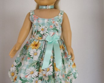 18 Inch Doll Dress/18 Inch Doll Clothes/ Green, Yellow, Pink Print Summer Sun Dress with Choker Necklace