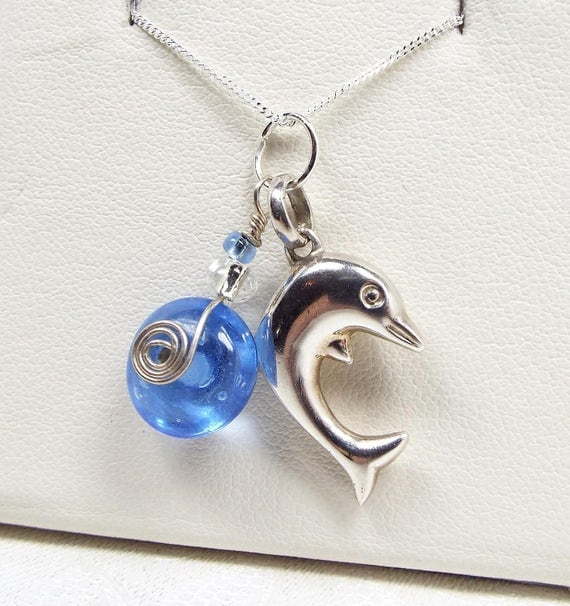 Vintage Sterling Silver Cute Seaside Dolphin Ocean Charm Pendant Necklace 925