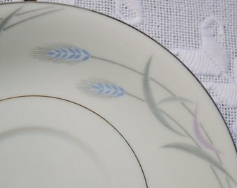 Vintage Valmont China Royal Wheat Saucer White Blue Gray Platinum Replacement PanchosPorch