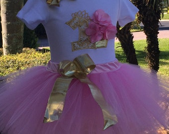 Pink and Gold 1st Birthday Outfit, Includes Tutu, Onesie or Shirt and Bow. Personalized, Sewn At The Waist One Year Birthday Dress, Cupcake