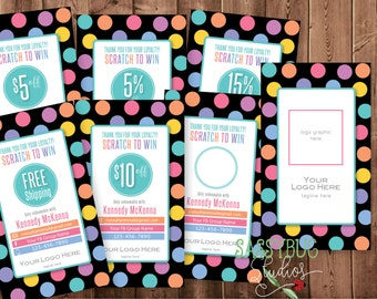 Scratch Off Prize Cards | Scratch to Win | Dots on Black Design | Business Card Size | Personalized | DIGITAL PRINTABLE File