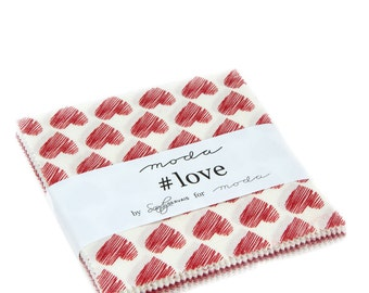"Love Charm Pack by Sandy Gervais for Moda includes 42 - 5"" squares"