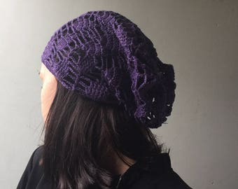 summer hat crochet purple  cotton hat, knitted summer beanie,purple slouchy, knitting lace hat, purple hat, flax sun hat, accessories