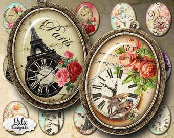 Clock digital collage sheet, 30 x 40 mm oval images, Pendant Images, Birds, Birdcage, Magnet, Pin, cabochon images, digital stickers