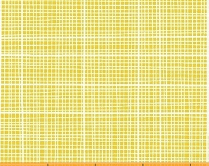 1/3 Yard REMNANT with FLAW Color and Count - Grid in Yellow - Cotton Quilt Fabric - Jill McDonald for Windham Fabrics - 40676-7 (W3640)