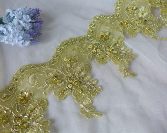 Beaded Alencon Lace Trim Gold Embroidered Lace Trim for Appliqué, Sewing, Garments