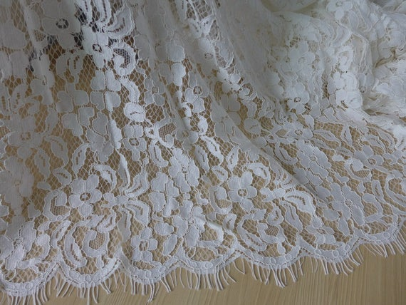 Ivory Alencon Fabric, French Lace, Chantilly Lace Fabric ...