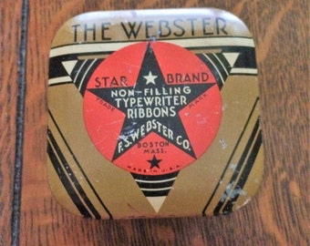 Vintage New Typewriter Tin and Ribbon Star Brand World War II Rustic Office Primitive